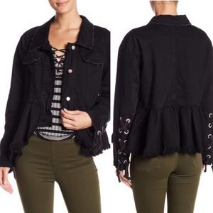 Free People Black Denim Peplum Jacket